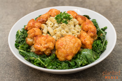 Macaroni and Cheese with Buffalo Cauliflower and Sauteed Kale