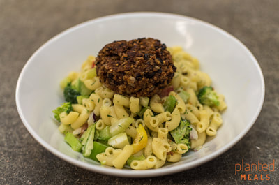 Macaroni Salad with House Made Black Bean Patty